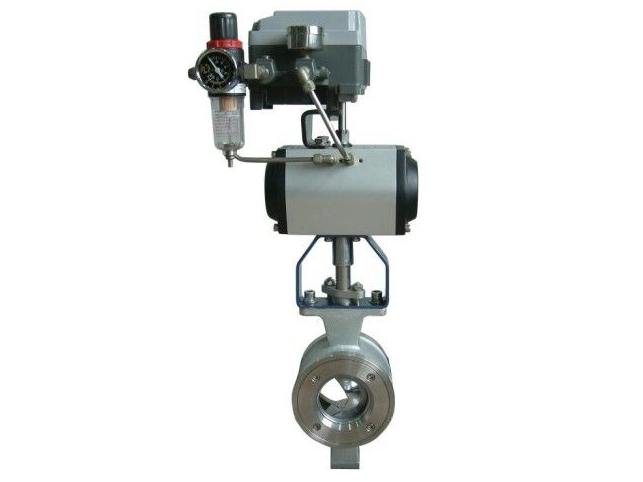 Pneumatic V-port cut-off ball valve