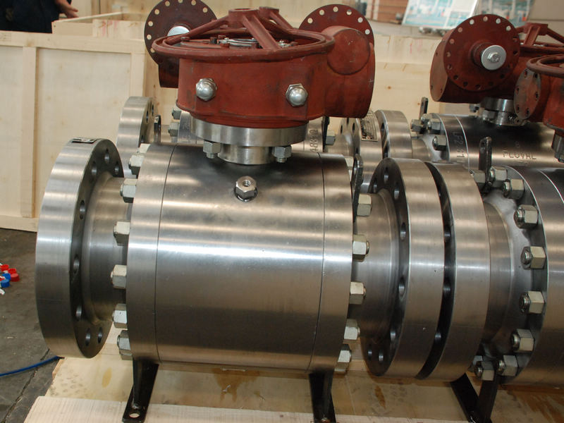 three pieces trunnion mounted metal seated ball valves