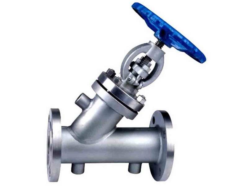 Steam jacketed Y type globe valve