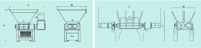 double shaft secondary shredder overall drawing
