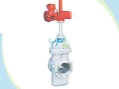 Slab gate valve with through conduit