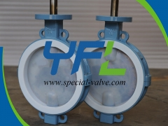 PN16 DN300 Wafer PFA Lined butterfly valve