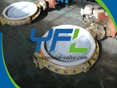 U type flanged PFA Lined butterfly valve
