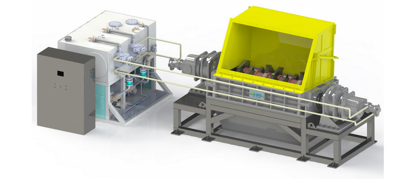Bulky Waste Double Shaft Primary Shredder 70 Tons/hour