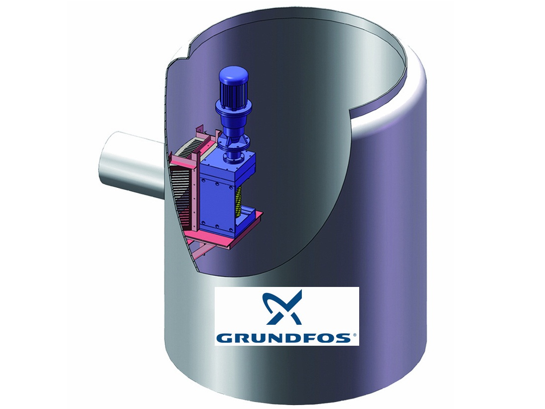 Single Drum channel wastewater grinder for Grundfos Integrated Prefrabricated pump station